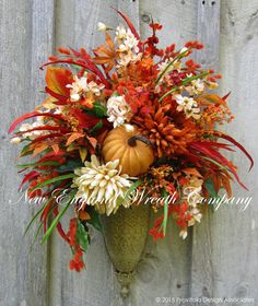 Fall Floral Bouquet Autumn Wall Bouquet by NewEnglandWreath Elegant Fall Wreaths, Autumn Wreaths, Wreath Fall, Thanksgiving Wreaths, Thanksgiving Decorations, Christmas Wreaths, Floral Bouquets, Floral Wreath, Fall Swags