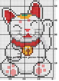 Maneki-neko perler bead pattern