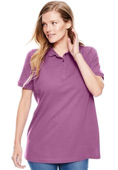 Short Sleeve Perfect Polo Tee - Women's Plus Size Clothing