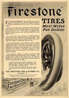 1911 Ad Antique Automobile Firestone Tires Rubber Akron - ORIGINAL EM1
