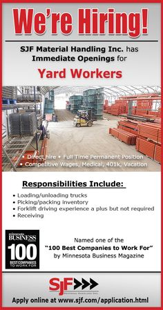SJF Material Handling Inc. has immediate openings for Yard Workers. Direct hire…