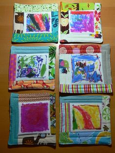 Children's art potholders...