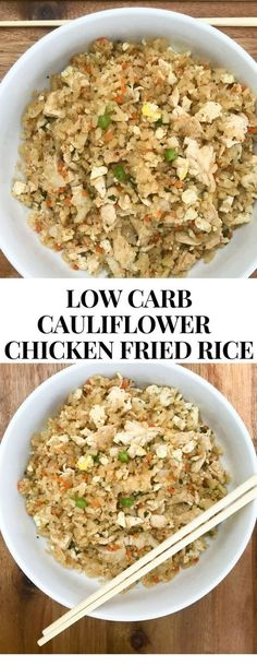 Low Carb Meals Low Carb Cauliflower Chicken Fried Rice - Paleo, Gluten-Free, Keto, Whole Faster Way to Fat Loss friendly. - This Low Carb Cauliflower Chicken Fried Rice is healthy and delicious. Rice Recipes, Beef Recipes, Chicken Recipes, Healthy Recipes, Cookie Recipes, Fat Free Recipes, Dessert Recipes, Snacks Recipes, Donut Recipes