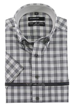 The Abbey, just added 100% Cotton No Ir... Check it out here http://theabbeycollection.ca/products/100-cotton-no-iron-check-sport-shirt-button-down-collar-short-sleeve-by-leo-chevalier?utm_campaign=social_autopilot&utm_source=pin&utm_medium=pin