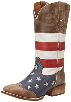 b16cd14d5e2f0c Roper Men s American Flag Square Toe Boot Brown Boot D - Medium - reading  coupon