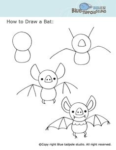 Halloween drawing ideas for kids how to draw boredom busters easy drawings and doodles coloring pages . Drawing Lessons, Art Lessons, Drawing For Kids, Art For Kids, Drawing Ideas, Draw A Bat, Classe D'art, Theme Halloween, Directed Drawing