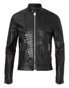 "PHILIPP PLEIN LEATHER JACKET ""DISTINCT"". #philippplein #cloth #"