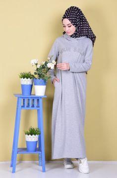 Sefamerve, Cepli Basic Elbise 1283-04 Gri