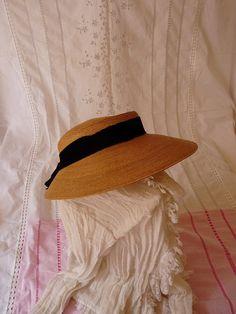 66f6b7439c3 Vintage sun Hat with black ribbon