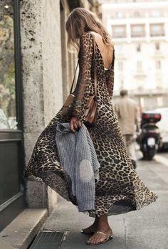 leopard maxi dress~