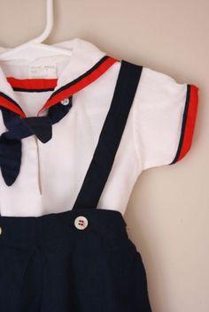 Vintage linen sailor suit
