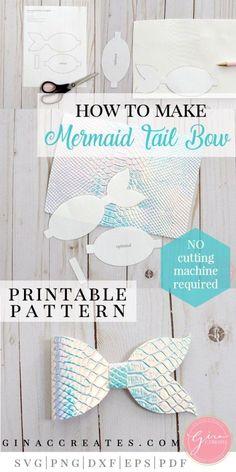 Diy Crafts - mermaid tail bow tutorial with free printable Mermaid Crafts, Mermaid Diy, Mermaid Tails, Diy Hair Bows, Making Hair Bows, Diy Bow, Fabric Hair Bows, Hair Bow Tutorial, Baby Headband Tutorial