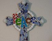 Colorful Peace Cross Mosaic Stained Glass. via Etsy.