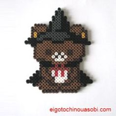 アイロンビーズ リラックマ ハロウィン Perler Bead Templates, Diy Perler Beads, Pearler Beads, Motifs Perler, Perler Patterns, Beaded Cross Stitch, Cross Stitch Patterns, Hama Beads Halloween, Kawaii Diy