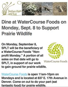 Watercourse Foods, vegan and vegetarian restaurant Denver, CO Dine with us on Monday and help to support prairie wildlife! We will be hosting a non-profit Monday for the Southern Plains Land Trust. We will be donating a portion of our sales to this organization that helps protect prairie wildlife.  wedigfood.com will donate $1 every time you write a restaurant review to Root Capital, a nonprofit agricultural lender that grows rural prosperity in poor, environmentally vulnerable places…