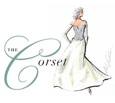 Oleg Cassini gown design. The Corset: Imagining a romantic literary heroine, the corset bodice is designed to celebrate the narrowed waistline. The most authentic looking corsets are strapless, yet, full length sleeves or long gloves pair elegantly with the corset silhouette.