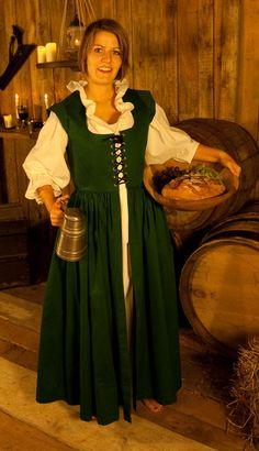 Robe Médiévale Barmaid Verte                                                                                                                                                      Plus