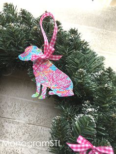 Lilly Pulitzer Lab Dog Ornament Lets Cha Cha Preppy Christmas Tree Wreath Labrador Holiday Decorations Preppy Gift Resort Pink & Green Prep by MonogramSTL on Etsy