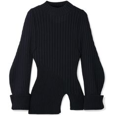 Jacquemus Pablo ribbed wool sweater (490 NZD) ❤ liked on Polyvore featuring tops, sweaters, jacquemus, midnight blue, asymmetrical hem sweater, ribbed top, balloon sleeve sweater and ribbed sweater