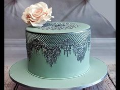 wedding cakes lace Week Red velvet and White Lace cake Small Wedding Cakes, Purple Wedding Cakes, Wedding Cakes With Flowers, Flower Cakes, Edible Cake Decorations, Wedding Cake Decorations, Fondant, Edible Lace, Sugar Lace