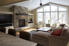 Plymouth Kitchen/Family Room Addition - traditional - family room - minneapolis - by Knight Construction Design Traditional Family Rooms, Small Family Room, Family Room Addition, Home And Living, Great Rooms, New Living Room, Small Room Design, Family Room Remodel, Room Design