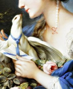 Young woman fastening a letter to the neck of a Pigeon, Detail. by Johann Christian von Mannlich