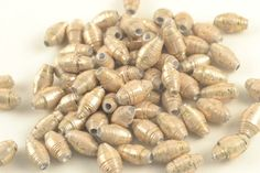 65 Creamy Gold  PAPER BEADS Upcycled Recycled by ChezChaniSupply, $3.75