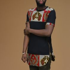 Unisex Afrination Ankara Longline T-Shirt - Afrination By Kofi Jr. Couples African Outfits, African Clothing For Men, African Attire, African Wear, African Dress, Men African Shirts, Nigerian Men Fashion, African Print Fashion, African Fashion Dresses