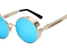 Univerzálne štýlové okuliare Steampunk modro zlata Mirrored Sunglasses, Steampunk