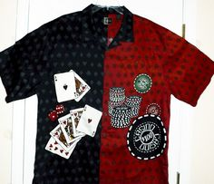 CHILIWEAR Men's XXL 2XL POKER CASINO CARDS GAMBLING - Lucky Shirt for Card Night #Chiliwear #ButtonFront