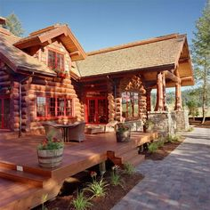 Designing your log home outdoor living space? Consider this : The purpose of the outdoor living space will be the driving factor in which furniture is chosen. Select furniture that is practical for its intended while painting comfort and aesthetics. #outdoorliving #summertime #loghomeliving Log Cabin Living, Log Cabin Homes, Log Cabins, Barn Homes, Log Homes Exterior, Log Home Designs, Log Home Decorating, Decorating Ideas, Cabin In The Woods