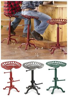 Farmhouse Tractor Adjustable Bar Stool... antique style in a practical seat! This rugged, iron stool will fit right in to your country farmhouse décor! Perfect for your rustic kitchen or man cave, this industrial barstool adds antique character to any room!