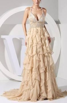 Cream Plus Size Evening Dress Prom Homecoming Formal Sexy Long Women Cheap Ball Gown Western Maxi Glamorous Empire Bridesmaid Waist Open Back Beaded - Brought to you by Avarsha.com