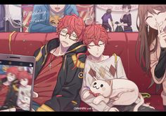 The Choi twins 💕 Mystic Messenger Characters, Mystic Messenger Fanart, Seven Mystic Messenger, Manga Anime, Saeyoung Choi, Mini Comic, Saeran, Cute Art, Kawaii