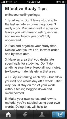 Effective Study tips... hopefully i can learn from these, it would make things go a lot smoother! :)