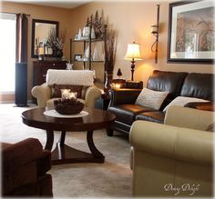 "cream brown green living room | As it is a long narrow room, it is difficult to get a ""full room"" view ..."