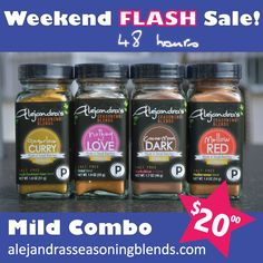 Flash sale!! Just for 48 hours, get the mild set of my Seasoning Blends for $20 (save $13.16). Ends Sunday, June 7th at 6 pm. All blends are made in small batches right in the heart of #LosAngeles . We use only organic ingredients that are naturally #glutenfree  and #vegan .  #artisanal #madeinLA  Are you ready to do summer right??