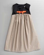 love the colorblock and the orange bow  David Charles Bow-Center Colorblock Dress