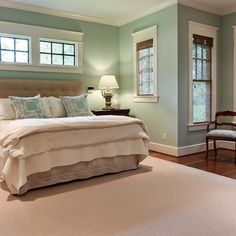 Benjamin Moore Palladian blue said to be the most beautiful color as it changes with the angle of the light all day long. It is peaceful, flattering and not pastel. Its a grayed down, robins egg blue.