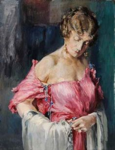 Mariano Fortuny gown in painting