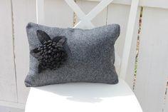 Gorgeous Grey flannel pillow w black pom