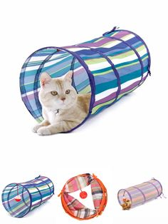 [Visit to Buy] Pet Tunnel Cat Play Tunnel Crinkle With Ring Bell Kitten Play Toy Collapsible Colorful Bulk Cat Toys Rabbit Play Tunnel 3 Colors #Advertisement