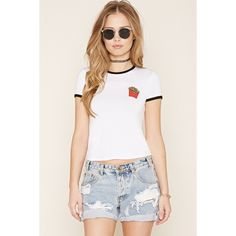 Forever 21 Women's  French Fries Graphic Ringer Tee ($13) ❤ liked on Polyvore featuring tops, t-shirts, embroidery t shirts, embroidered top, short sleeve graphic tees, graphic t shirts and white t shirt