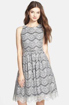 a6b280c6d7a Eliza J Lace Overlay Cutout Fit   Flare Dress
