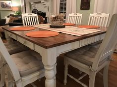 """I painted my kitchen table and chairs with Lowe's chalk paint """"Her Dainties"""" and antiqued with Lowe's """"Antiquing Wax"""" and finished with Lowe's clear sealing wax."""