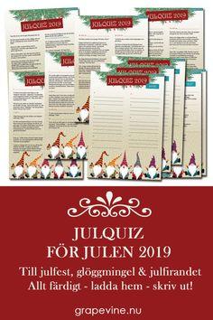 Årets Julquiz är här. Beställ och skriv ut direkt. Ett quiz om jul, jul, strålande jul. Blandade,  fyndiga frågor - rykande färska för julen 2019 om allt som har med julen  att göra. Perfekt till julfesten, julbordet, glöggminglet eller  självaste julfirandet med släkten! #julfest #julquiz #quiz #jul2019 #festlekar