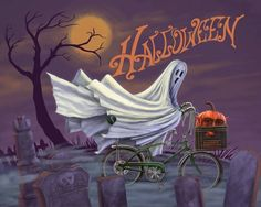 Halloween Ghost riding a bike with jack-o-lantern in basket Halloween Painting, Halloween Prints, Halloween Pictures, Halloween Ghosts, Spirit Halloween, Holidays Halloween, Halloween Makeup, Happy Halloween, Halloween Decorations