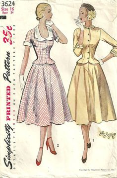 Cute jacket on the right! Simplicity 3624 Vintage 50s Sewing Pattern by studioGpatterns