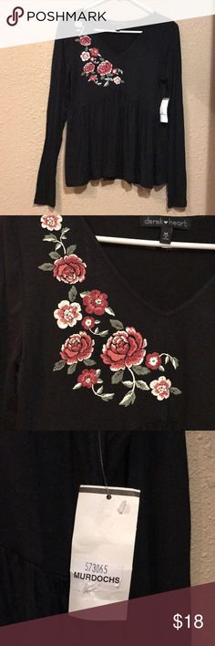 Derek Heart black floral appliqué flowy blouse Shirt has tags but it is just the store  tag not the actual brand tag, that is how they came. Still NEW with tag! Black flowy top. Beautiful floral appliqué with burgundy, pink, white and green. V-neck with long sleeves Soft material Available in small and medium (medium is the one in pictures) Derek Heart Tops Blouses