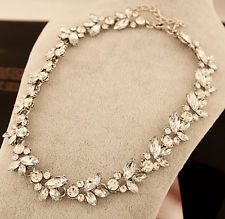 Charm Crystal Silver/Gold Flower Pendant Statement Bib Chunky Choker Necklace